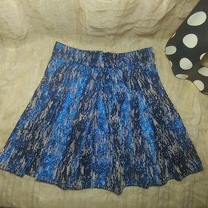 Bethany Mota Metallic Blue Skater Skirt, Jr -XS